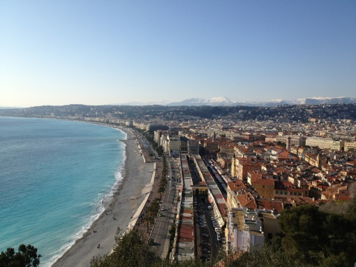 The Baie des Anges, the Promenade des Anglais, and the Cours Saleya as seen from the Parc du Chateau.