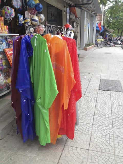 Rain ponchos sold everywhere.