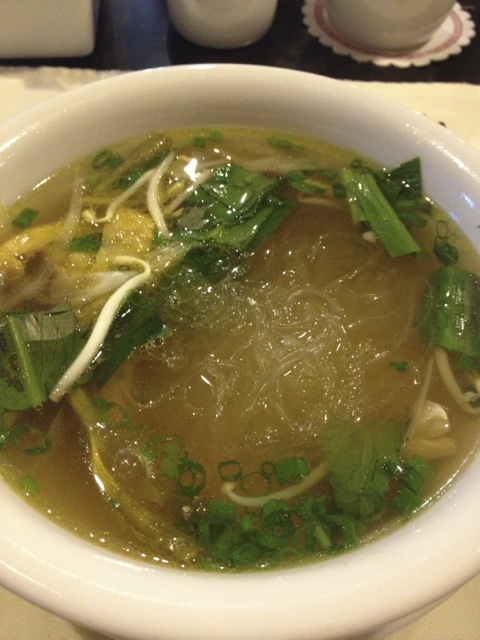 Glass noodle soup cooked in the same soup as the pho.