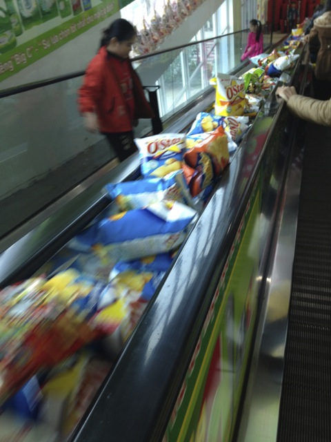 Going down to the food section, you can pick up a bag or two of potato chips.