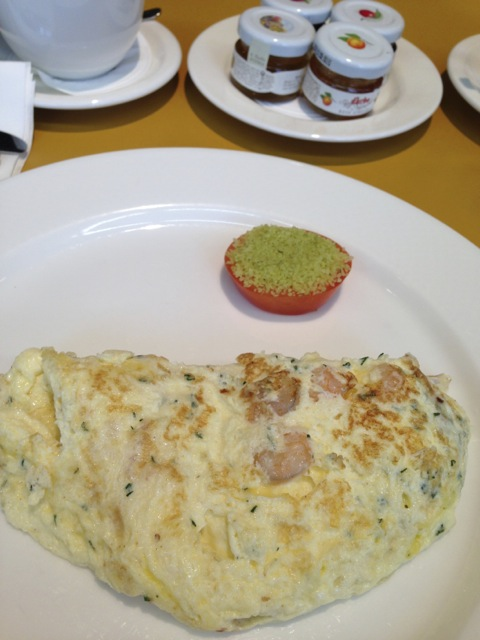 Omelet with shrimps on the third morning.