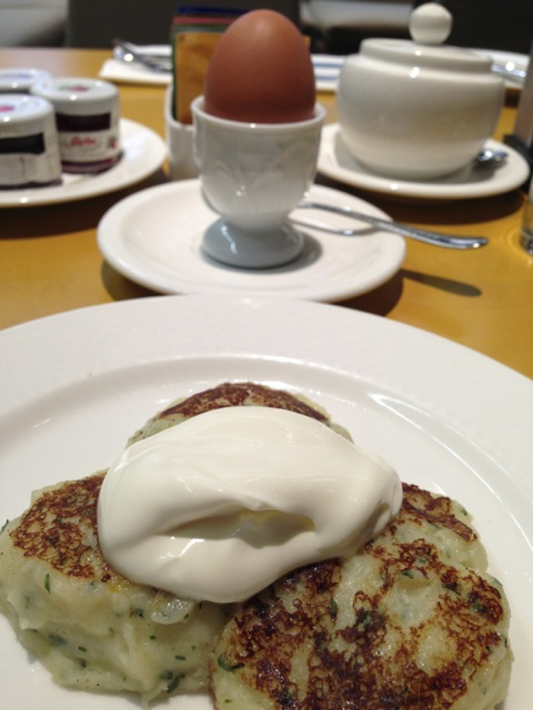 Russian potato patties with sour cream.  This was the BEST.