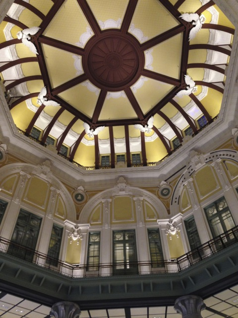 Inside the Tokyo Station.  Some of the Station Hotel rooms have a view of this dome and the people traffic downstairs in the concourse.