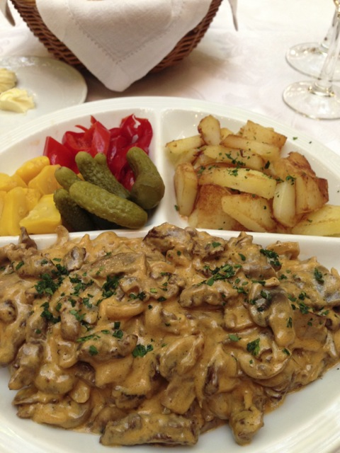 Vacationed in Moscow, Russia which may not sound too much like vacationing but had some great food including the signature beef stroganoff at the classic Metropol Hotel.