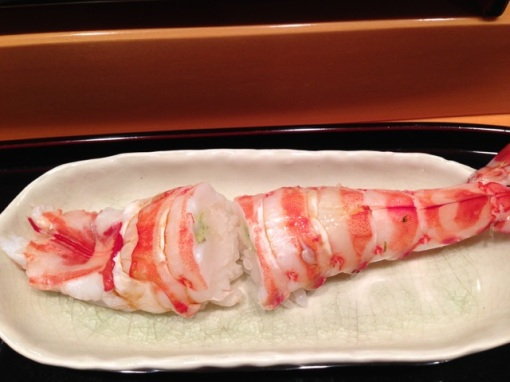 My best friend and I go out for sushi every month to the same sushi restaurant and this is from July.  I used to think that this prawn was better served raw but at some point this year, we tried it boiled and discovered that this was better.