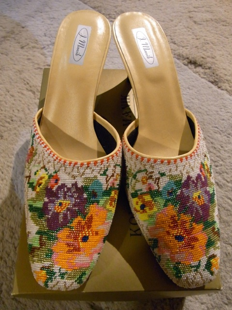 """My pair of beaded """"shoes""""."""