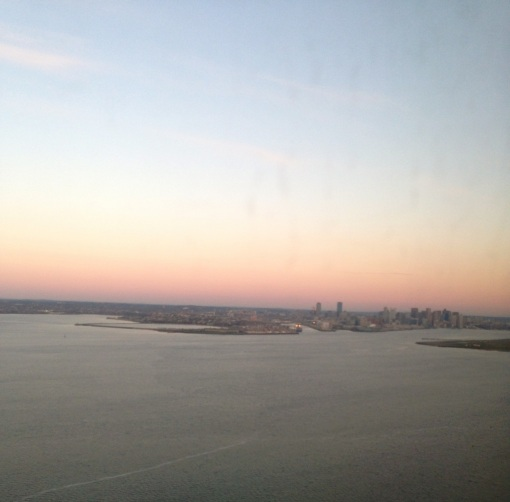 The Boston skyline in sight.