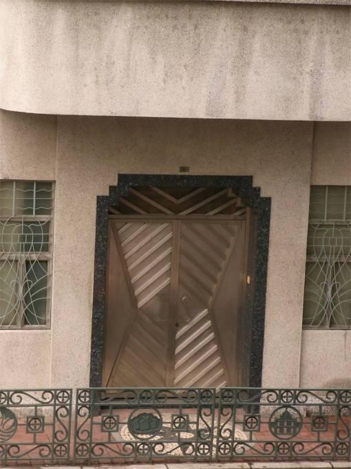 The door of the school.