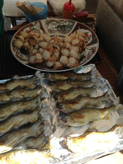 Scallops and ayu, clear water fish in season now.