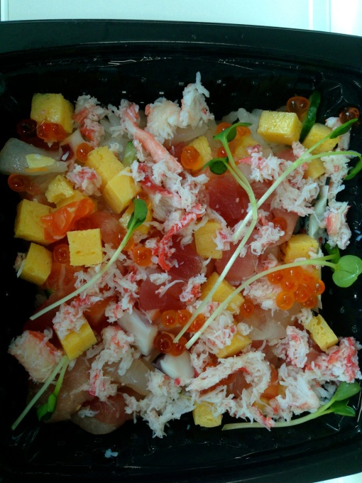 A chirashi boxed lunch I got yesterday from a supermarket on my way to work.  They only make it available in the morning hours before 12 noon.