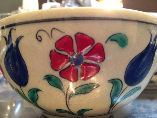 In the bowl I bought in Istanbul.  Love the blue tulips.