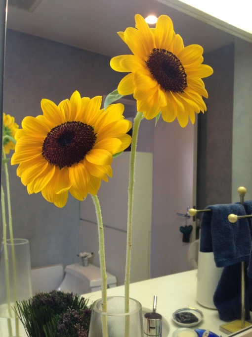 The following morning in my bathroom, looking pretty and summery.