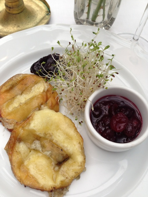 And they are big on fruit sauces.  Grilled local ewe cheese with cranberry sauce.