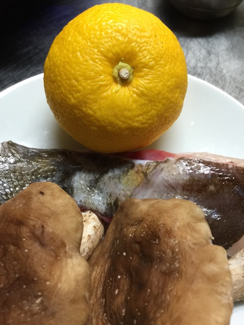 Cod and shiitake mushrooms to be steam cooked in the yuzu cup.