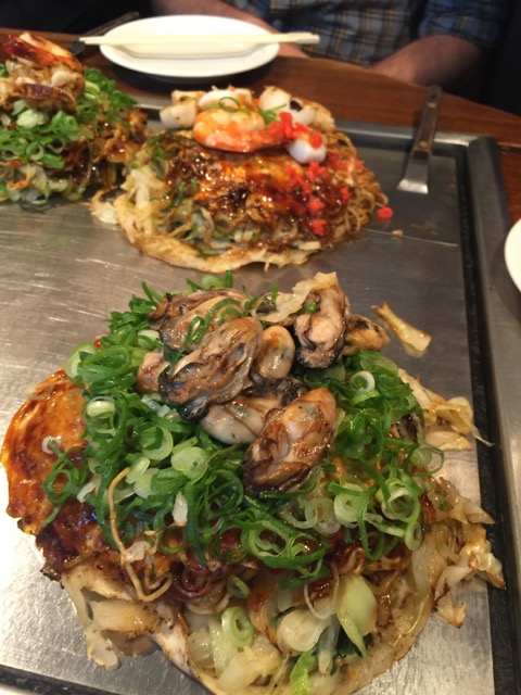 My oyster okonomiyaki with soba and extra scallions.
