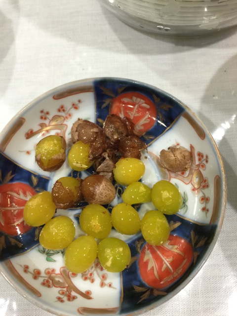 Gingko nuts - something my cousin enjoys but none of her family members would eat.  They don't know what they're missing.