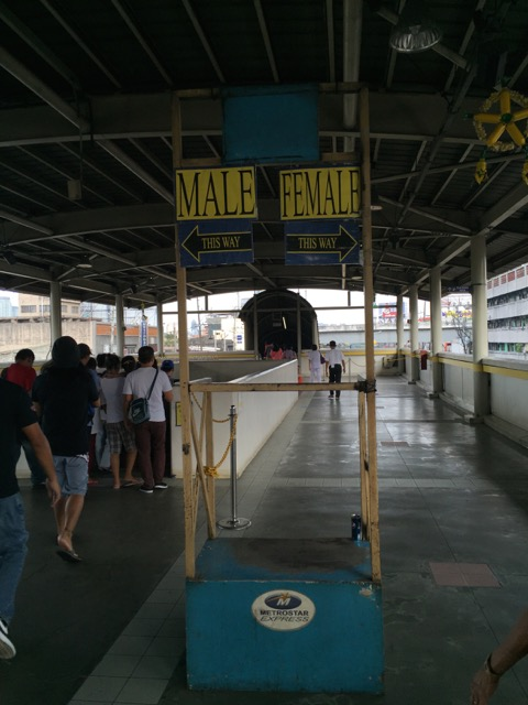 At the Taft Avenue Station on MRT Line 3.  Senior citizens, people with small children, and women get priority in the first car at this originating station.
