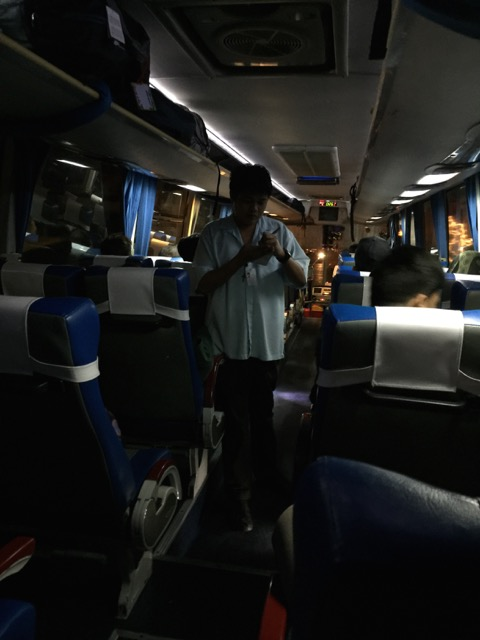 So I though this was rather interesting.  This guy goes around the bus after departure where everyone is getting off and manually writes it down with a pencil.  He goes away and comes back with a book which he punches make holes indicating what you've paid and other info.