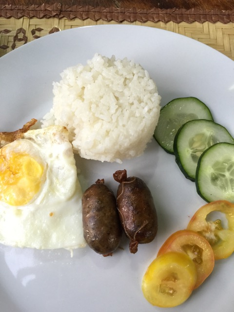 My simple breakfast with local sausages that are much smaller than other typical Filipino sausages which are almost always had with a fried egg at breakfast.