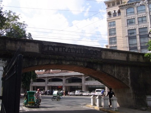 One of the entrances to the walled city.  What looks like a tunnel-overpass is the wall.