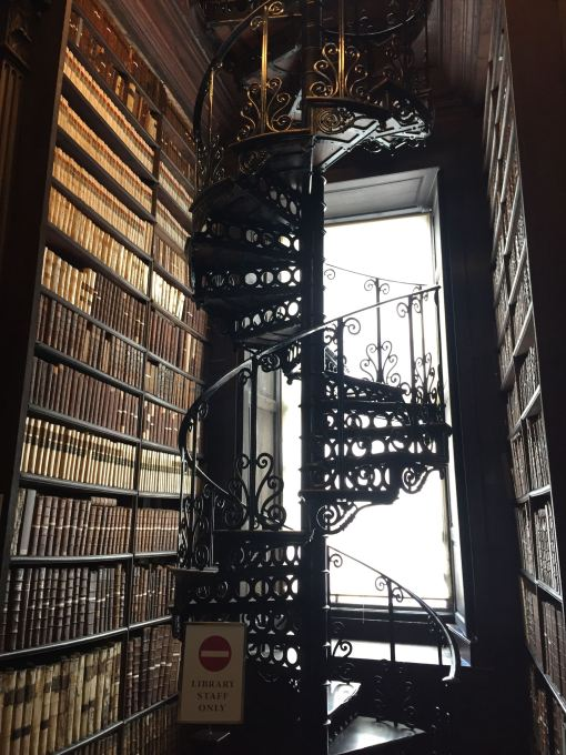 A winding staircase going upwards.