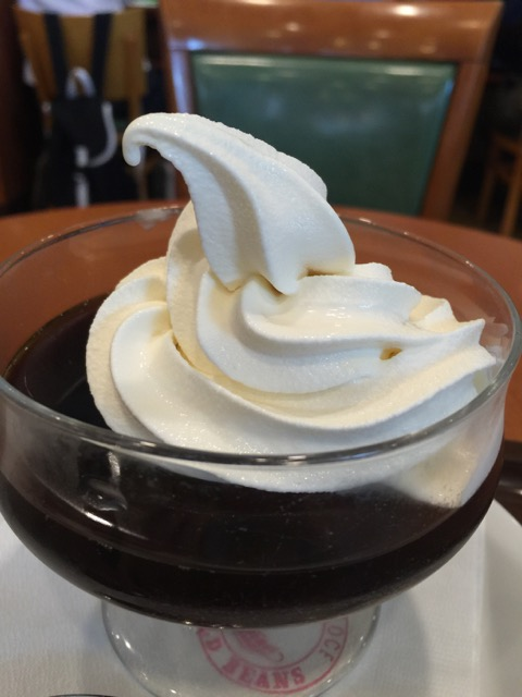 """The so-called """"coffee jelly"""" @ Cafe Veloce, a chain coffee shop near me.  I only wanted the soft-serve but they don't sell it that way."""
