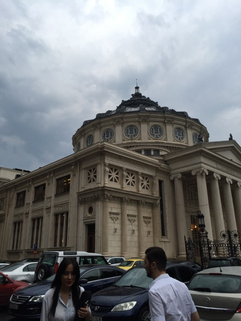 The restaurant is across from the Romanian Athenaeum, the main classical concert hall opened in 1888.