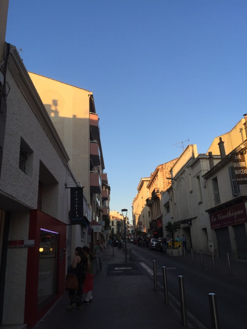 My street, rue Marceau, with the apartment on left.  Across the street from me is my favorite wine shop in Cannes.