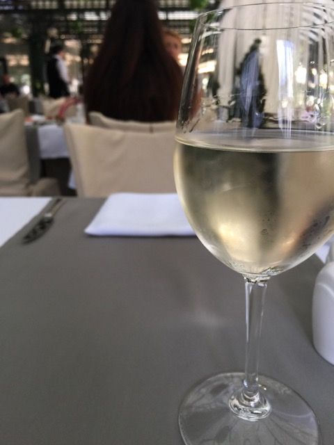 Sat down to a glass of local Riesling as recommended by my waiter. Very nice.