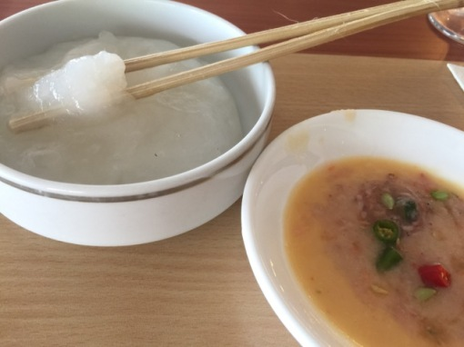 Ambuyat with its dipping sauce.