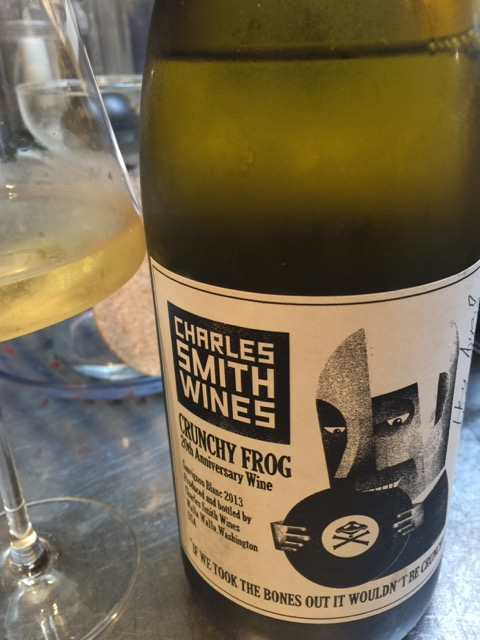 The Crunchy Frog wine, Sauvignon Blanc produced and bottled by Charles Smith Wines in Washington, USA
