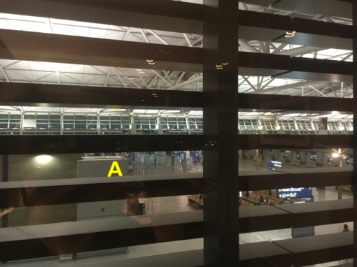 The view from my room, looking out to the check-in counter area.