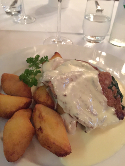 "My objective was to try the ""Zagreb schnitzel"" but ended up having the house specialty, a schnitzel stuffed with spinach with parmesan sauce as was recommended. It was so good."