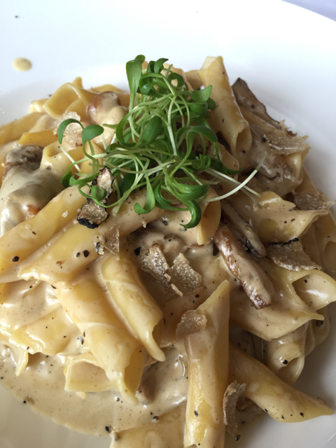 Homemade fusi, pasta from Istria, with truffles sauce