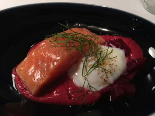 I went a la carte and had this amazing salmon confit with an onsen tamago and a beet sauce