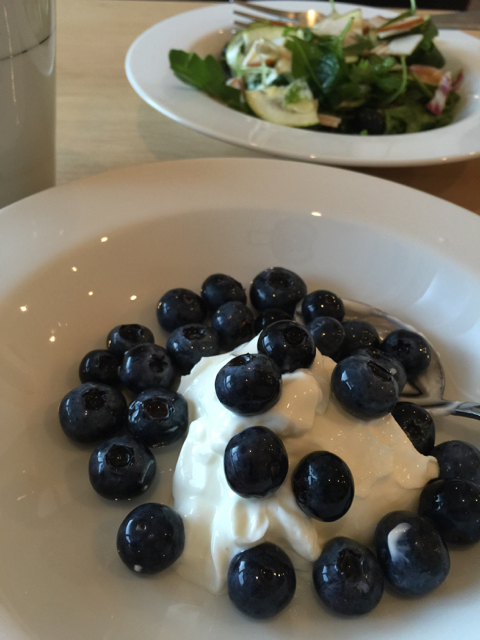 Had the plain kind for breakfast with fresh blueberries.