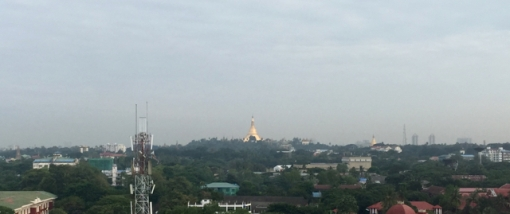 The Shwedagon Pagoda in the distance