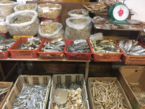 Only a couple of shops for dried fish and things